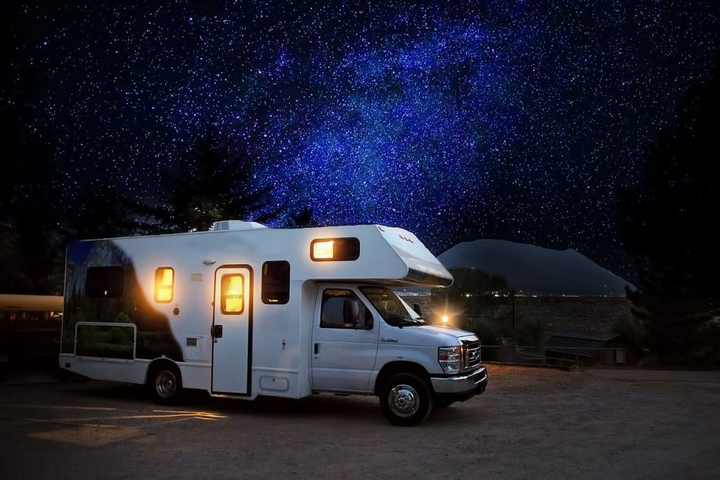 rv camping night